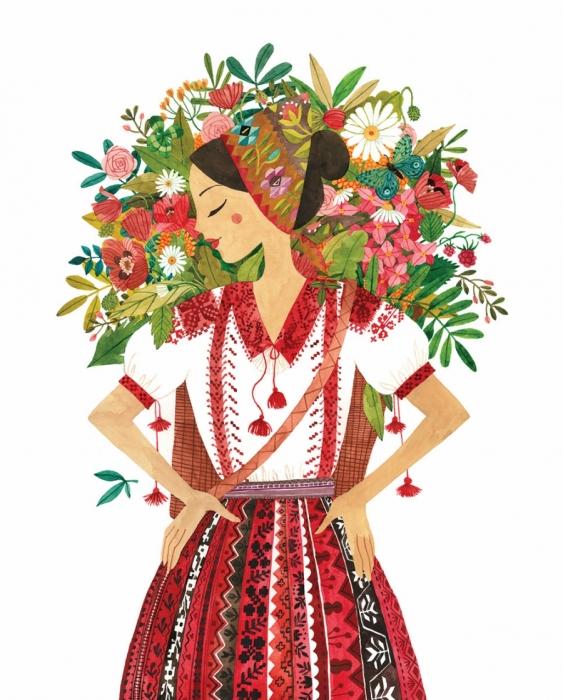 Felicitare - Tărăncuță cu flori 1