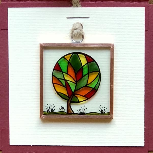 Miniatură pictată pe sticlă motiv Copacul Fericirii 2