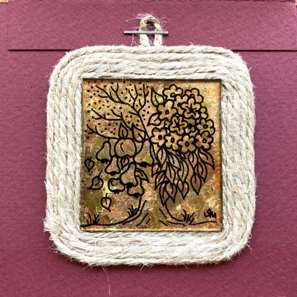 Miniatură pictată pe sticlă motiv Pomul Vieții 0