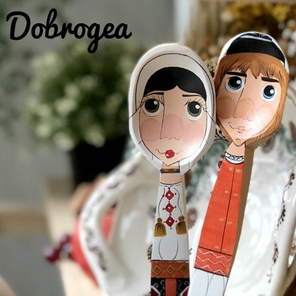Lingură pictată manual - flăcău din Dobrogea 2