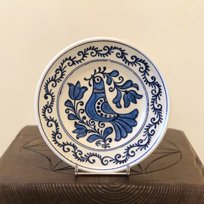 Farfurie alb-albastră Ø 16 cm model 1 0