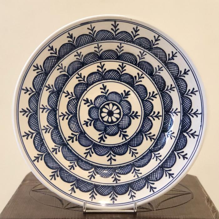 Farfurie alb-albastră Ø 24 cm model 1