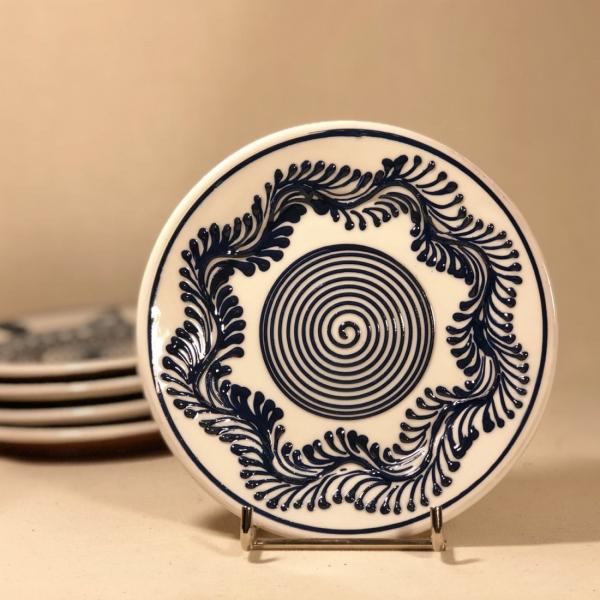 Farfurie alb albastră Ø 14 cm model 5