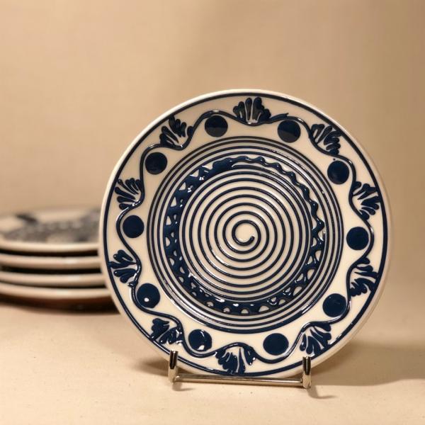 Farfurie alb albastră Ø 14 cm model 8 0