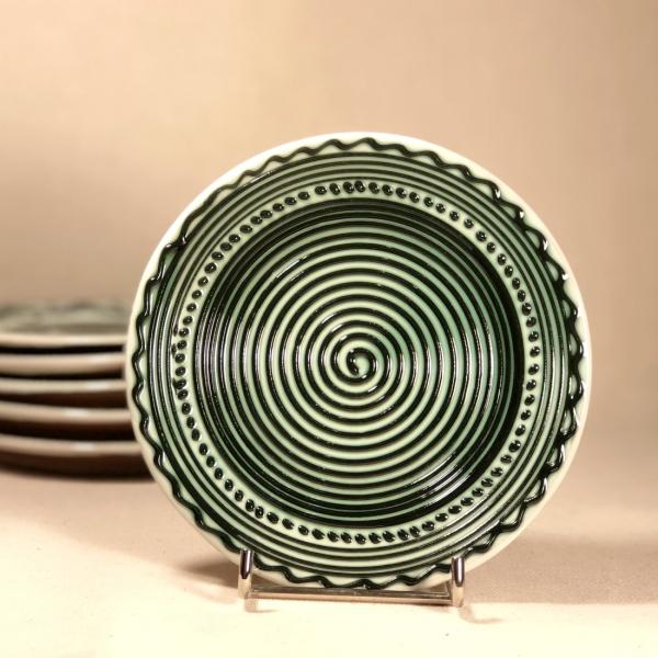 Farfurie alb verde Ø 14 cm model 3