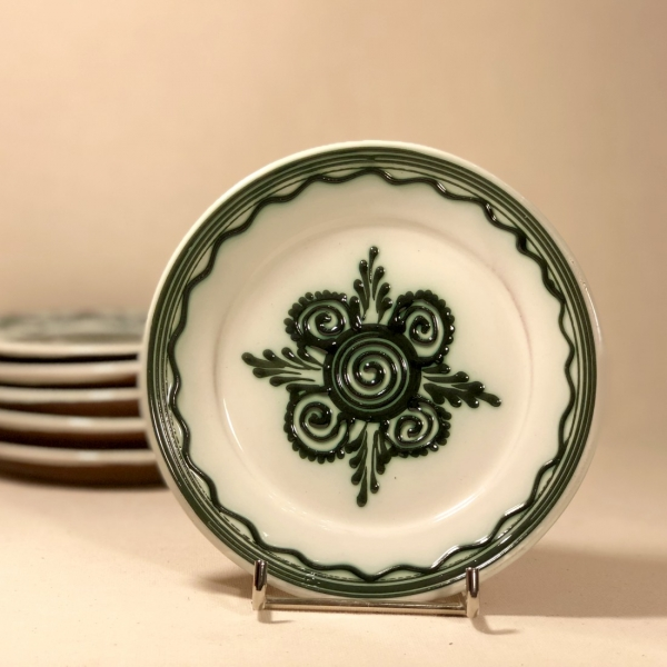 Farfurie alb verde Ø 14 cm model 4 0