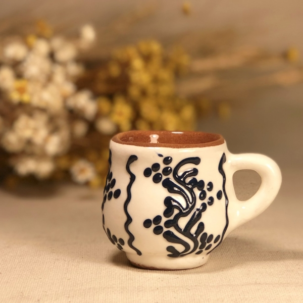 Pahar țuică alb albastru model 2 1