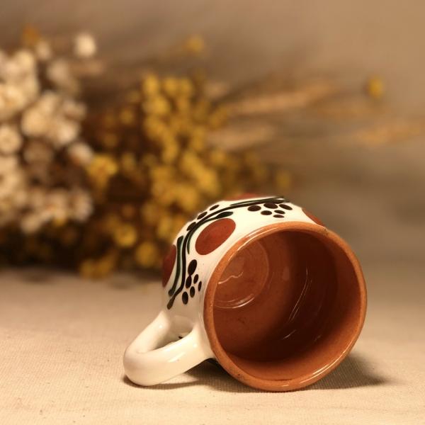 Pahar țuică alb maro model 1 2